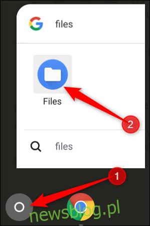 Stuknij przycisk Szukaj, a następnie wpisz Pliki, aby znaleźć aplikację Pliki