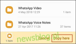 Potwierdzenie kopiowania w aplikacji Samsung My Files