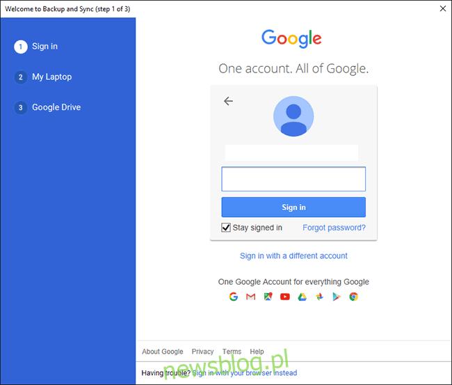 Ekran logowania na Dysk Google na PC