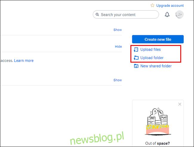 Przesyłanie plików lub folderów w interfejsie internetowym Dropbox