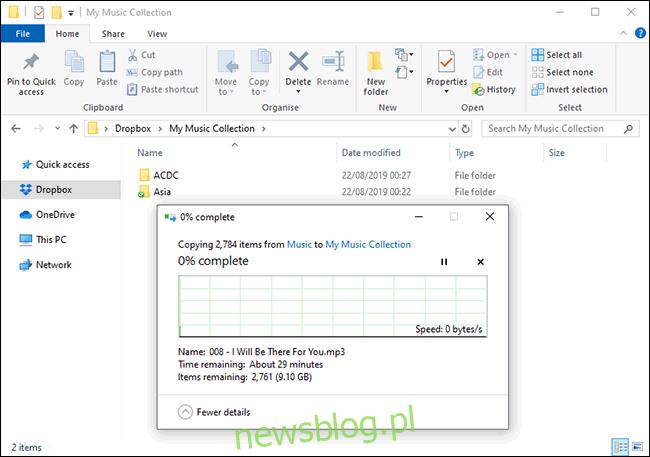 Przesyłanie plików do Dropbox w Menedżerze plików systemu Windows