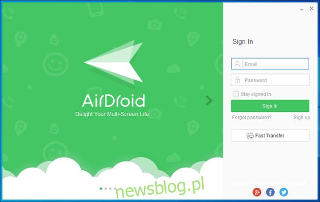 Ekran logowania Airdroid na PC