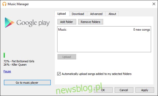 Menedżer muzyki Google Play z przesyłaniem muzyki