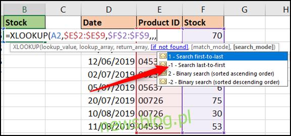 Opcje trybu wyszukiwania z XLOOKUP