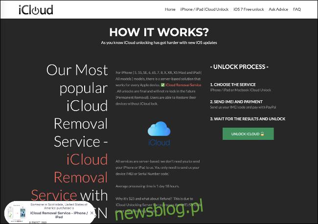 Witryna internetowa usługi usuwania iCloud.