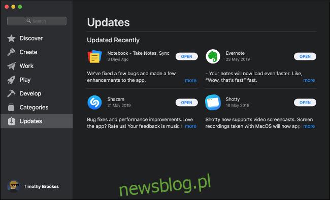 Menu Aktualizacje oprogramowania w sklepie App Store w systemie macOS.