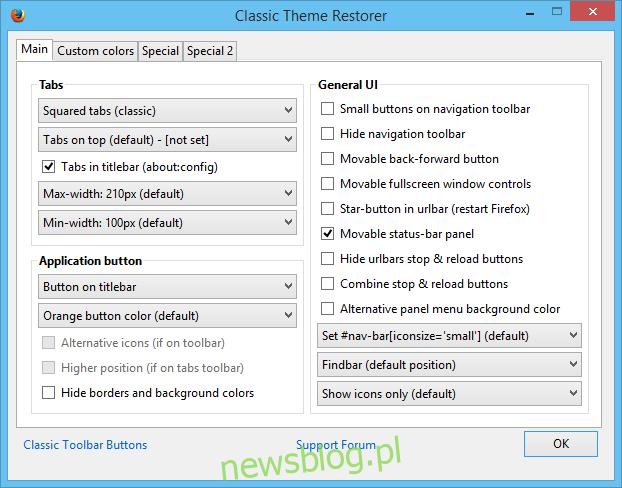 Przywróć klasyczny motyw Firefox 29_Classic Theme Restorer Menu
