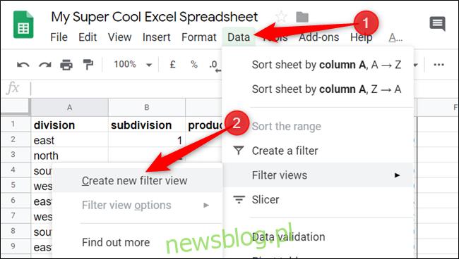 """Kliknij Dane> Widoki filtrów> Utwórz nowy widok filtru """". width = """"650 ″ height ="""" 368 ″ onload = """"pagespeed.lazyLoadImages.loadIfVisibleAndMaybeBeacon (this);"""" onerror = """"this.onerror = null; pagespeed.lazyLoadImages.loadIfVisibleAndMaybeBeacon (this);""""> </p><p> Numery wierszy i litery kolumn po aktywacji zmienią kolor na ciemnoszary. W tym momencie należy nadać widokowi filtra nazwę, aby odróżnić go od innych widoków, które utworzysz w przyszłości, i sprawdzić, czy zakres jest prawidłowy. W razie potrzeby zawsze możesz edytować oba te elementy później. </p><div style="""