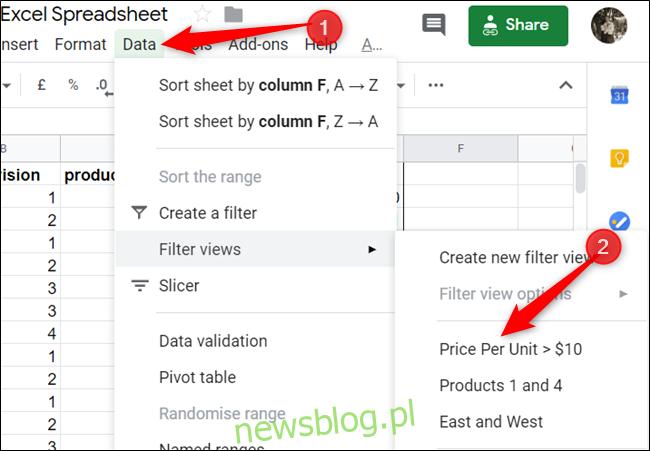 """Chcesz ponownie zobaczyć swój widok? Kliknij Dane> Widoki filtrów i wybierz filtr do wyświetlenia """". width = """"650 ″ height ="""" 451 ″ onload = """"pagespeed.lazyLoadImages.loadIfVisibleAndMaybeBeacon (this);"""" onerror = """"this.onerror = null; pagespeed.lazyLoadImages.loadIfVisibleAndMaybeBeacon (this);""""> </p><p> Jedną z największych zalet widoków filtrów jest możliwość wyświetlania przefiltrowanych danych bez zmiany widoku arkusza kalkulacyjnego innych współpracowników. Jeśli jednak ktoś chce korzystać z widoków filtrów, może to zrobić – nawet osoby, które mają dostęp tylko do wyświetlania. </p><div style="""