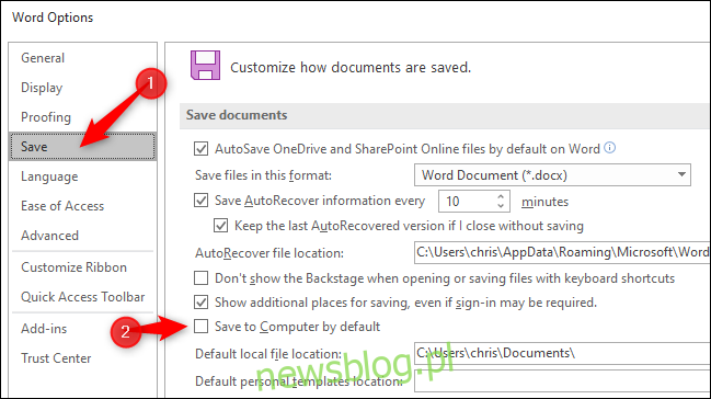 Zapisywanie dokumentów na komputerze lokalnym domyślnie w programie Microsoft Word.