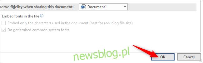 Kliknięcie przycisku OK, aby zapisać zmiany w oknie opcji programu Word.