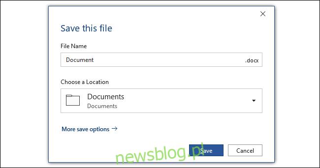 Okno dialogowe zapisywania pakietu Office z wybranym domyślnie folderem dokumentów.