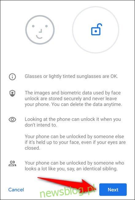 Google Pixel 4 Wybierz Dalej po przeczytaniu instrukcji