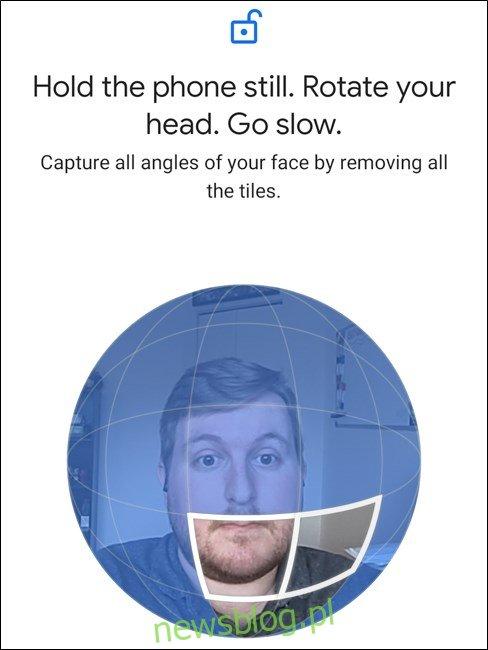 Google Pixel 4 Postępuj zgodnie z instrukcjami i obróć głowę