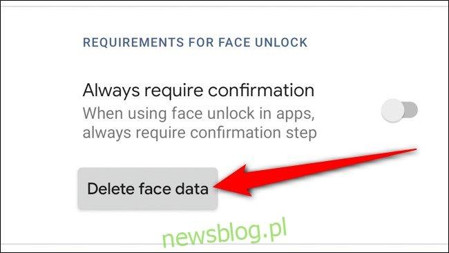 Google Pixel 4 Stuknij Usuń dane twarzy