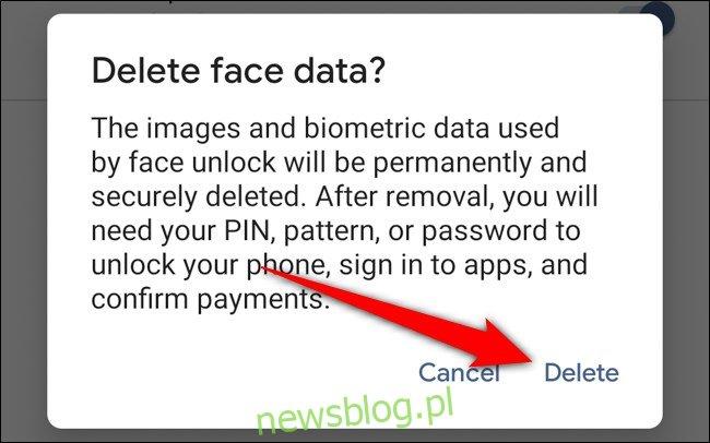 Google Pixel 4 Stuknij Usuń, aby potwierdzić