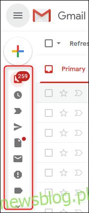 Pasek boczny Gmaila w trybie kontraktowym.