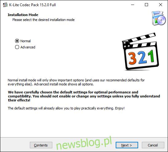 Otwórz instalator kodeka K-Lite, wybierz tryb instalacji, a następnie kliknij Dalej