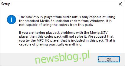Ostrzeżenie dotyczące aplikacji Filmy i TV podczas instalacji kodeka K-Lite