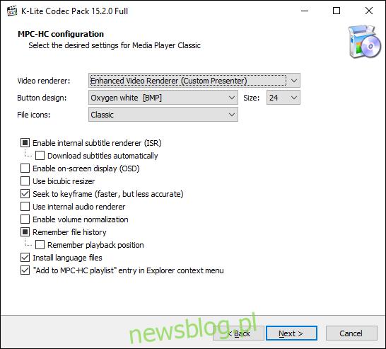 Potwierdź ustawienia i opcje K-Lite MPC, a następnie kliknij Dalej