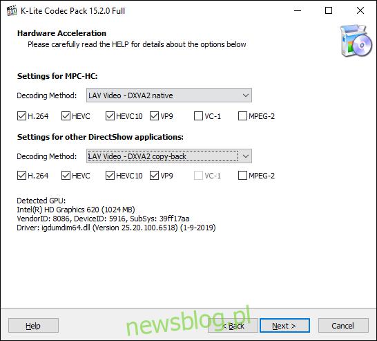 Potwierdź opcje przyspieszenia sprzętowego K-Lite Media Player Classic, a następnie kliknij Dalej
