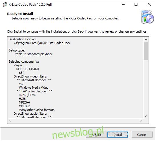 Kliknij Zainstaluj, aby rozpocząć instalację K-Lite Codec Pack