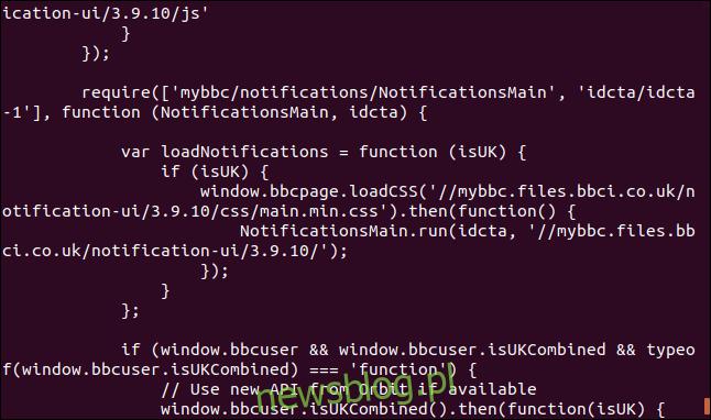 Dane wyjściowe z curl wyświetlające kod źródłowy strony internetowej w oknie terminala