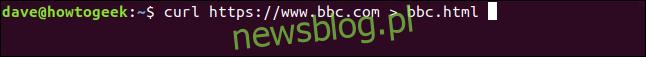 """curl https://www.bbc.com> bbc.html w oknie terminala """"width ="""" 646 ″ height = """"57 ″ onload ="""" pagespeed.lazyLoadImages.loadIfVisibleAndMaybeBeacon (this); """" onerror = """"this.onerror = null; pagespeed.lazyLoadImages.loadIfVisibleAndMaybeBeacon (this);""""> </p><p> Tym razem nie widzimy pobranych informacji, są one wysyłane bezpośrednio do naszego pliku. Ponieważ nie ma wyjścia okna terminala do wyświetlenia, curl wypisuje zestaw informacji o postępie. </p><p> Nie zrobiło tego w poprzednim przykładzie, ponieważ informacje o postępie byłyby rozproszone w kodzie źródłowym strony internetowej, więc curl automatycznie je pomija. </p><p> W tym przykładzie curl wykrywa, że wyjście jest przekierowywane do pliku i że generowanie informacji o postępie jest bezpieczne. </p><p> <img loading ="""