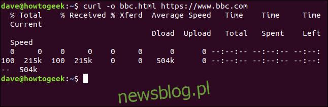 curl -o bbc.html https://www.bbc.com w oknie terminala