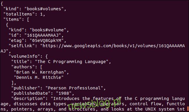 Dane Google book API wyświetlane w oknie terminala