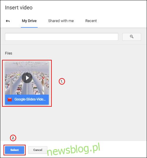 W sekcji Dysk Google menu Wstaw wideo Prezentacji Google wybierz swój film, a następnie kliknij Wybierz