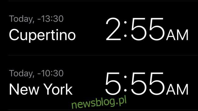 Czas lokalny w Cupertino i Nowym Jorku w aplikacji Zegar.