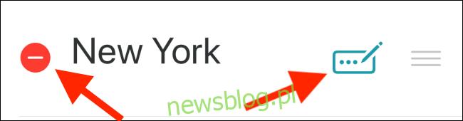 Stuknij czerwoną kreskę (-), aby usunąć miasto lub stuknij ikonę Edytuj, aby zmienić nazwę miasta.