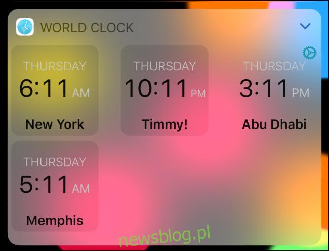 Zegar światowy w trybie cyfrowym.