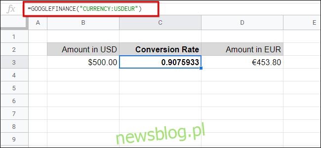 Przeliczanie walut w Arkuszach Google Finance