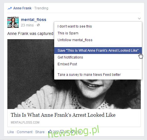 Facebook zapisz post