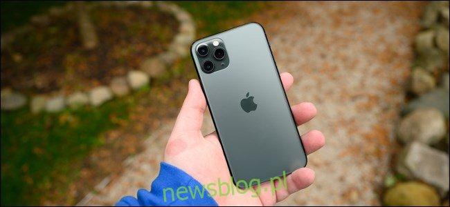 Ręka mężczyzny trzymająca Apple iPhone 11 Pro.
