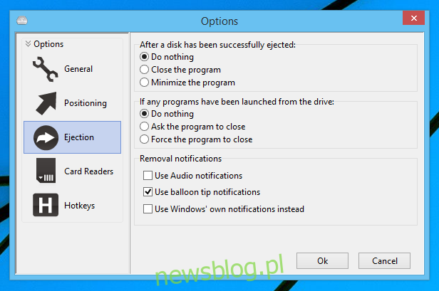 Wyrzutnik dysku USB_Options