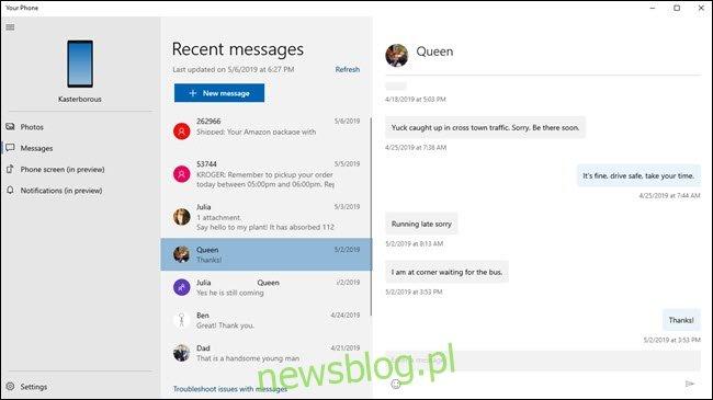 Aplikacja Twój telefon wyświetlająca wiadomości tekstowe ze zdjęciami kontaktów.