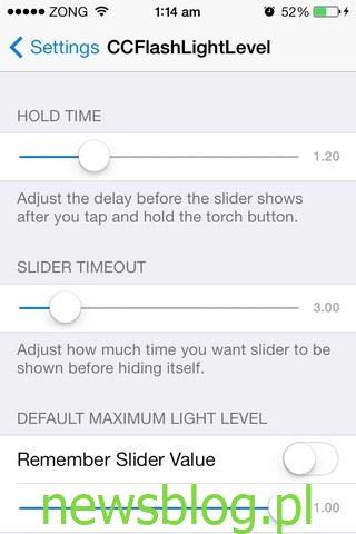 Ustawienia CCFlashLightLevel iOS
