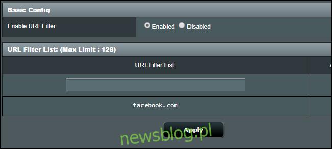 Blokowanie witryn internetowych na routerze Asus z funkcją listy filtrów adresów URL.