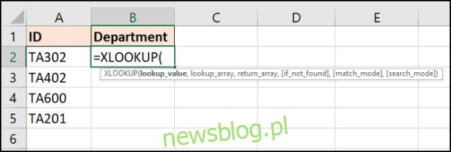 Informacje wymagane przez funkcję XLOOKUP