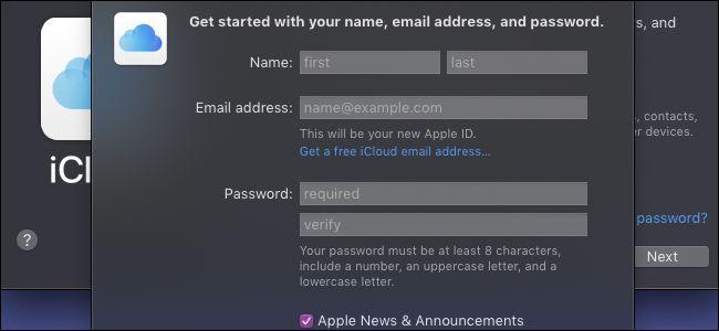 Strona rejestracji iCloud