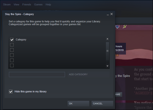 Możliwość ukrycia gry w Steam