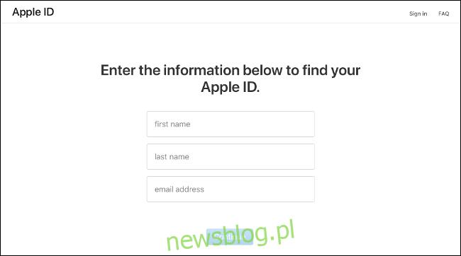 Strona wejściowa na iforgot.apple.com.