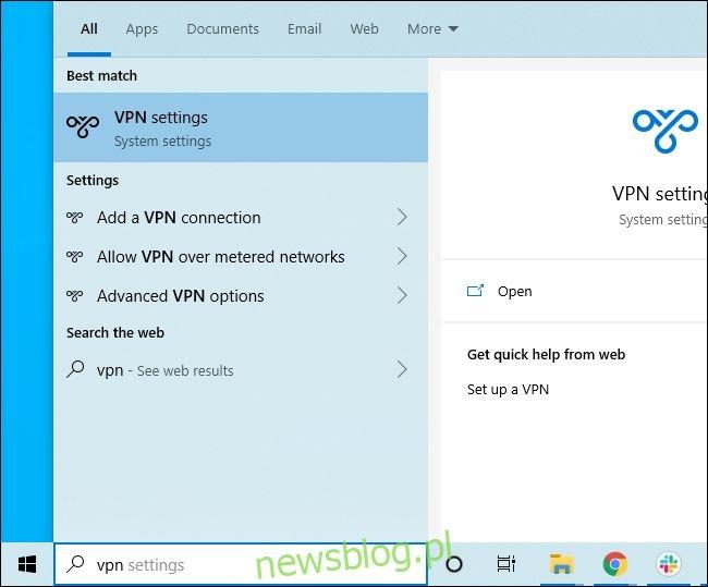 Przeszukiwanie menu Start systemu Windows 10 pod kątem ustawień VPN