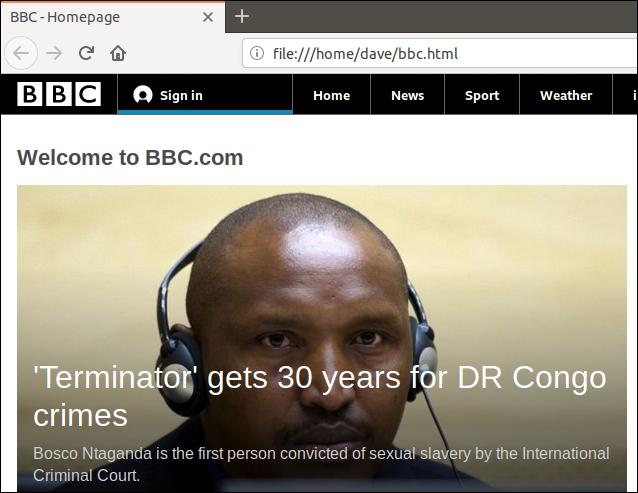 Pobrana strona internetowa została wyświetlona w oknie przeglądarki.