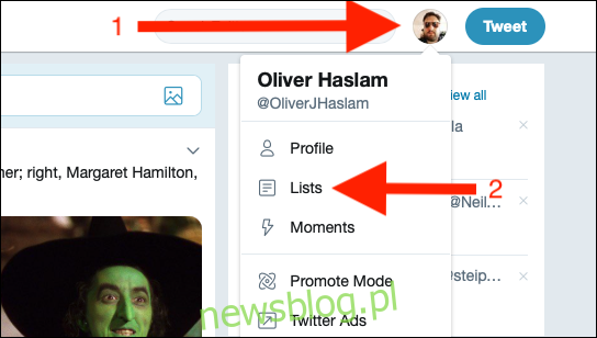 Kliknij swoje zdjęcie profilowe na Twitterze, a następnie kliknij