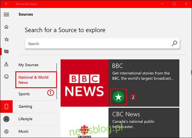 Aby dodać lub usunąć źródło wiadomości w Microsoft News, kliknij kartę Źródła, a następnie wybierz źródło wiadomości, klikając ikonę gwiazdki, aby je dodać / usunąć