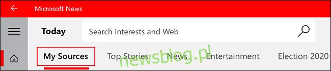Aby uzyskać dostęp do ulubionych źródeł wiadomości w aplikacji Microsoft News, kliknij kartę Moje źródła